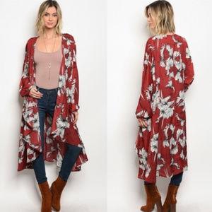 Wine Burgundy Boho Floral Long Sleeve Kimono